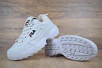 """Кроссовки зимние кожаные Fila Disruptor 2 White """"Белые"""" с мехом фила р. 36-45"""
