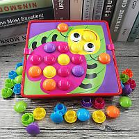 Мозаика детская для самых маленьких Qml button idea M9A 45 вкладышей 12 картинок (аналог мозаики от ТМ Alex)