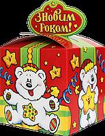 """Новогодняя Упаковка детская """"Бант біле ведмежа Умка"""" для сладостей до 700г"""