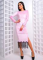 Облегающее платье миди с разрезом и кружевом по низу