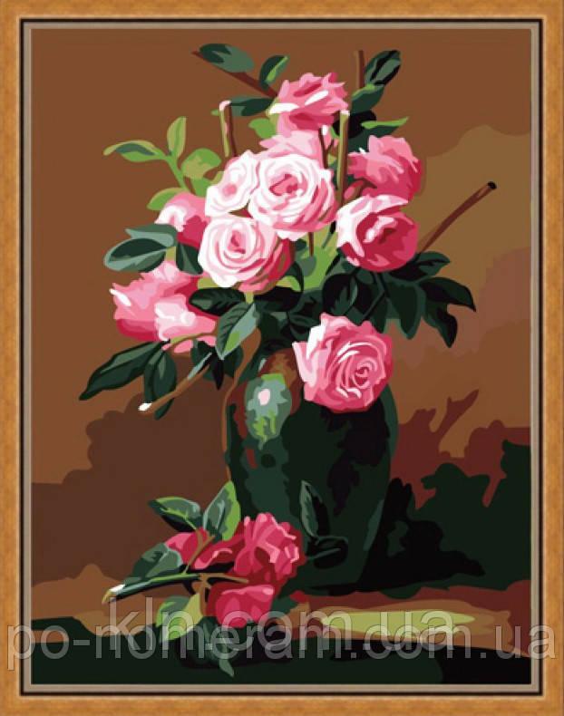 Картина-раскраска по номерам на холсте Menglei MG174 Букет из чайных роз 40 х 50 см 950 цветы