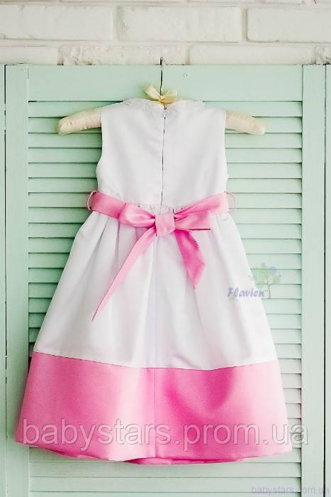Классическое детское белое платье с завышенной талией, цвет белый с розовым код: 7012, размеры: от 80 до 116