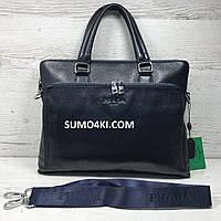 Мужской кожаный портфель Prada