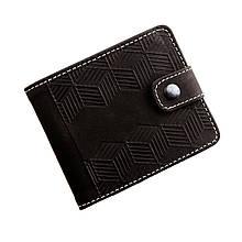 """Кошелек мужской кожаный на кнопке с карманом для монет """"Alex"""" (Арт Кажан). Цвет темно-коричневый"""
