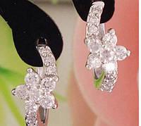 Серебряные серьги Цветок с белыми камнями стерлинговое серебро 925 проба, фото 1