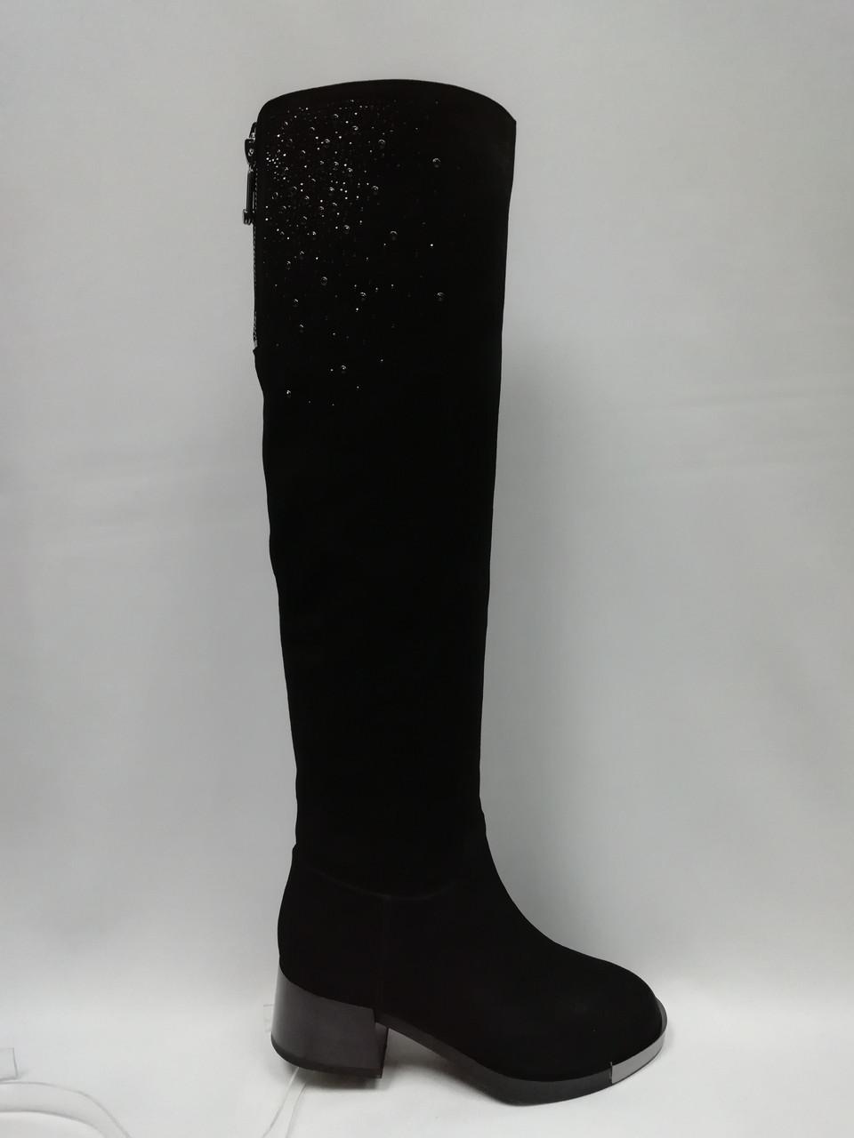 Черные замшевые зимние сапоги Berloni .