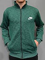 Толстовка Nike (Найк) / Мужская кофта на молнии из трикотажа с начесом - зеленая