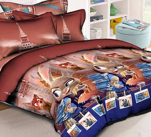 Детское постельное бельё 1.5 Ранфорс 150х215 Зверополис кофейный НоmyTex, фото 2