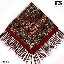 Павлопосадский бордовый платок Осеннее танго, фото 3
