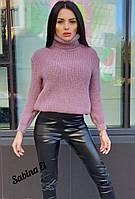 Женский вязаный свитер из полушерсти с высоким горлом 704411, фото 1