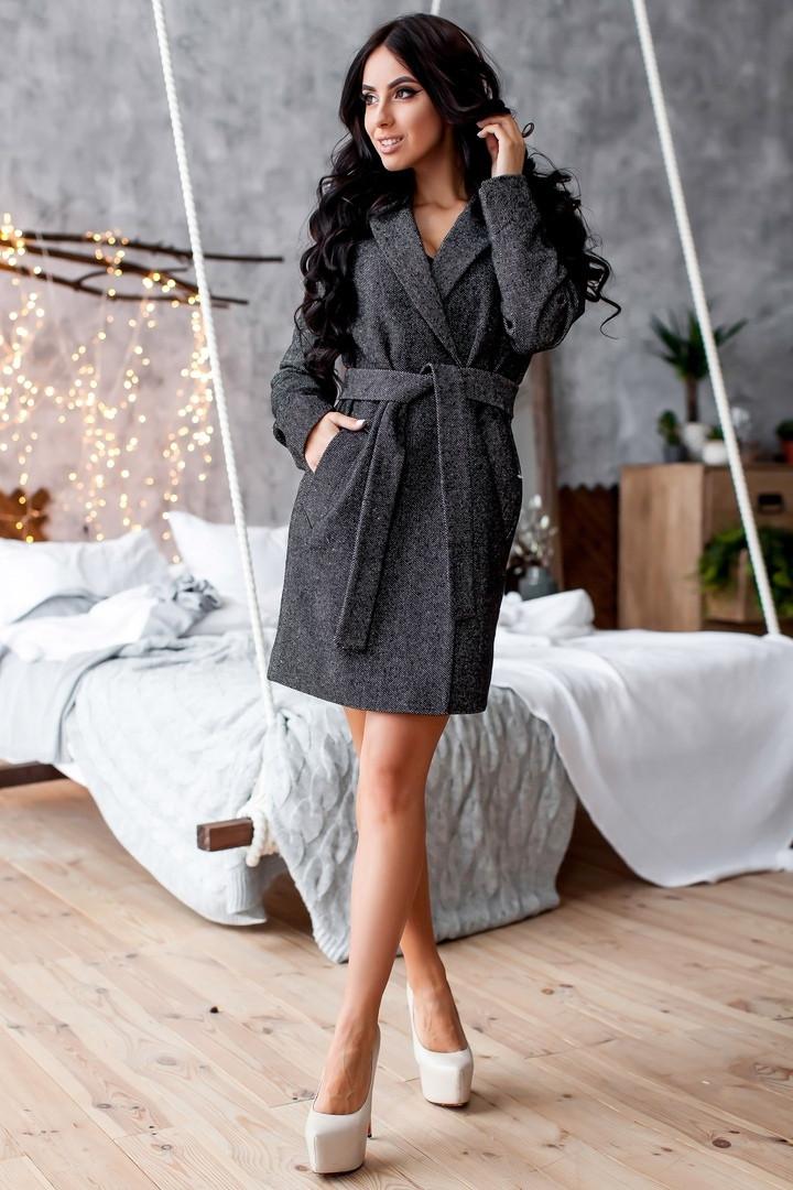 Твидовое женское пальто под пояс 1402132