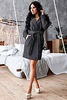 Твидовое женское пальто под пояс 1402132, фото 1