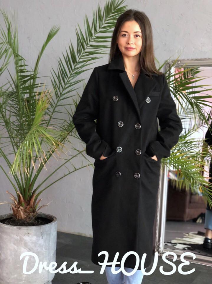 Женское кашемировое двубортное прямое пальто 502133