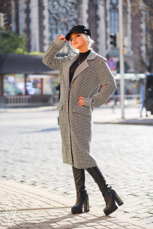 Прямое твидовое пальто ниже колена 6002136