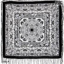 Павлопосадский черно - белый  платок Осеннее танго, фото 3