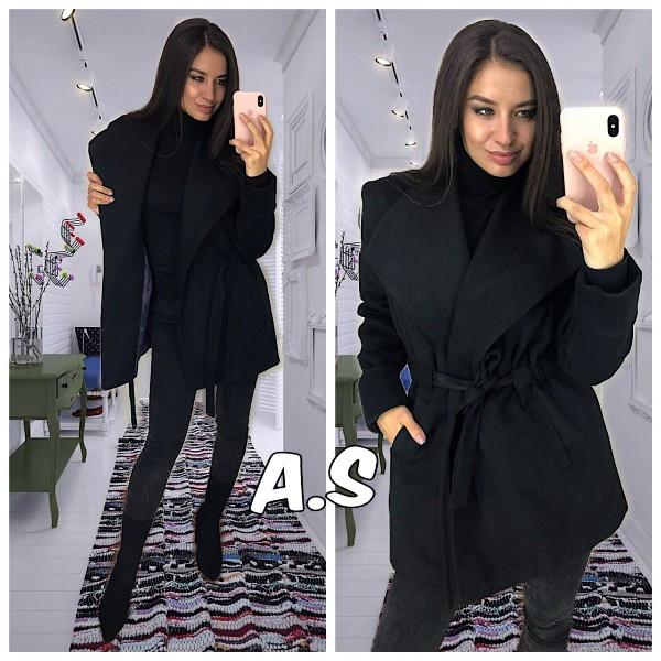 Короткое кашемировое женское пальто под пояс 5202137