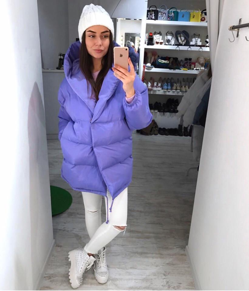 Женская объемная зимняя куртка с капюшоном 7101144