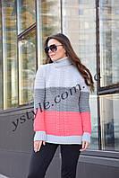 Трёхцветный женский свитер, серый+графит+коралл, фото 1
