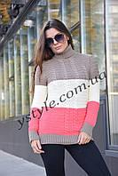 Трёхцветный женский свитер, капучино+молоко+коралл, фото 1