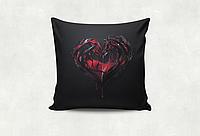 Подушка сувенирная с принтом Сердце блэк