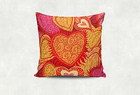 Подушка декоративная с принтом Разноцветное сердце 14 февраля