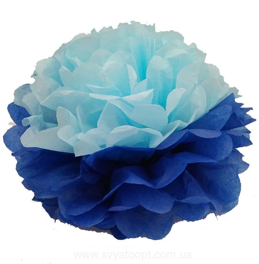 Помпон тишью голубой-синий 35см