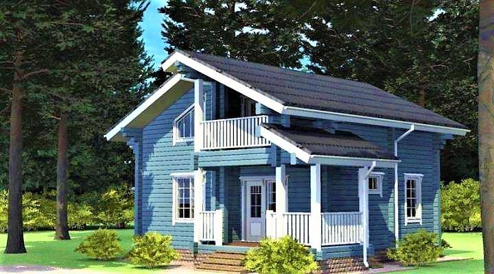 Двухэтажный деревянный дом из профилированного клееного бруса 9х10 м