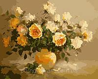 Картина по номерам Menglei MG278 Нежно-желтые розы 40 х 50 см 950 цветы