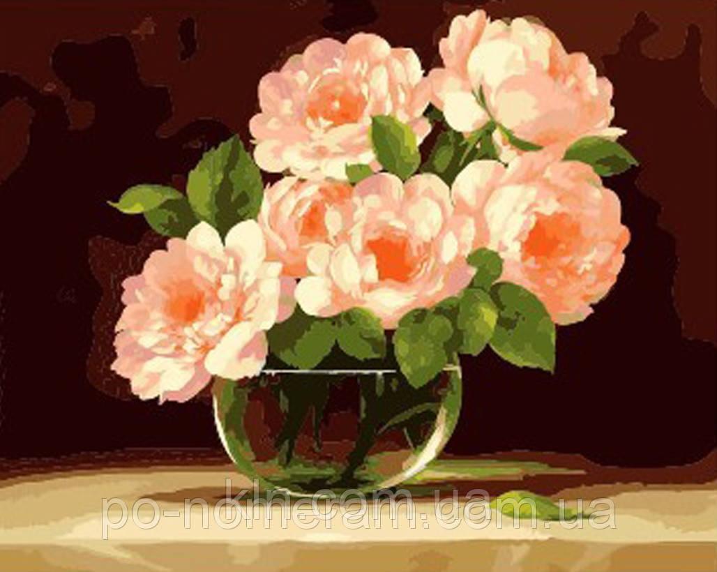 Картины для рисования на холсте по номерам Menglei MG282 Пионы в круглой вазочке 40 х 50 см 950 цветы