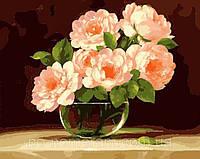 Картины для рисования на холсте по номерам Menglei MG282 Пионы в круглой вазочке 40 х 50 см 950 цветы, фото 1