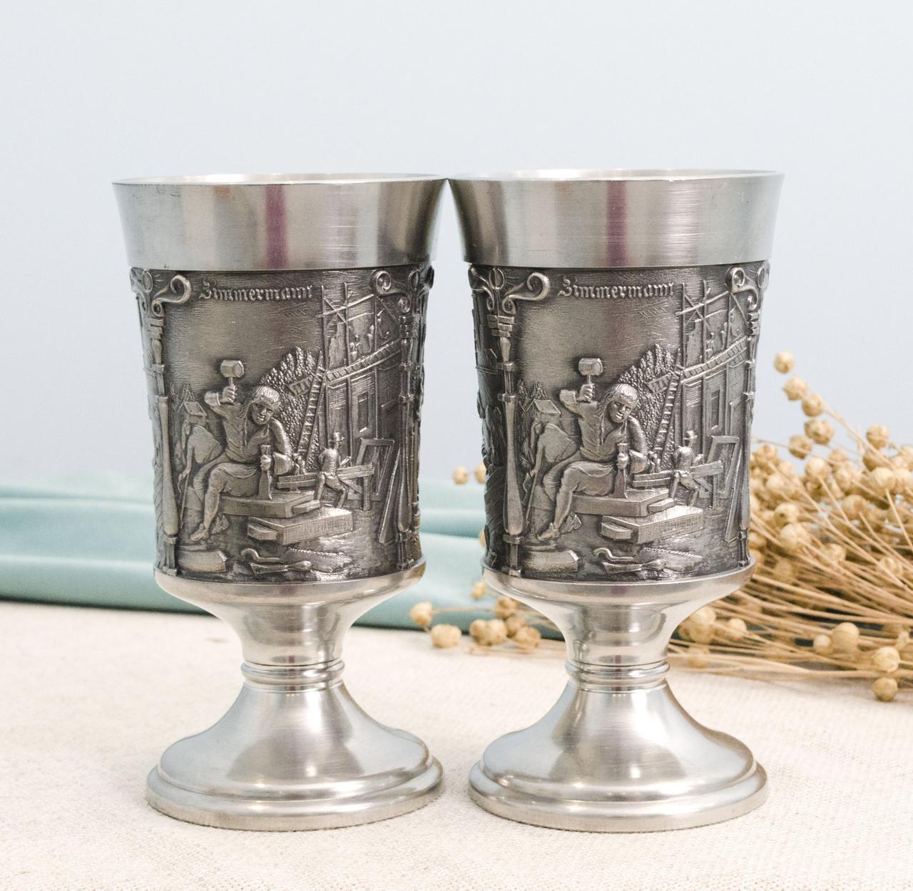 Два оловянных бокала для вина, пищевое олово, Германия, 300 мл