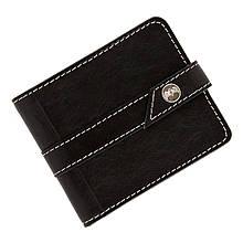 """Портмоне мужское кожаное на кнопке с карманом для монет """"Boss"""" (арт Кажан). Цвет черный с белой нитью"""