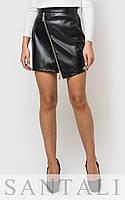Кожаная женская юбка с косой молнией 4511141, фото 1