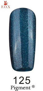 Гель-лак F.O.X. 6 мл Pigment 125 зеленовато синий с микро блеском, эмаль