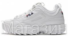 Зимние женские кроссовки Fila Disruptor 2 White кожаные Фила Дисраптор 2 С МЕХОМ белые