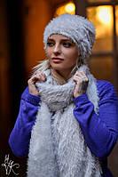 Женский набор шапка и шарф из травки 6007147, фото 1