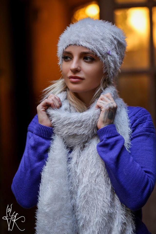 Женский набор шапка и шарф из травки 6007147