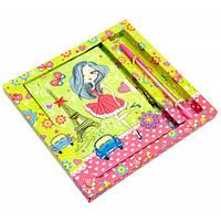 Блокнот с замком для девочек зеленый (2 ключа + ручка) (19 х 18 х 2 см)