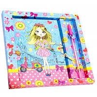 Блокнот с замком для девочек синий (2 ключа + ручка) (19 х 18 х 2 см)