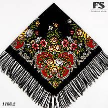 Чёрный павлопосадский шерстяной платок Василиса, фото 2