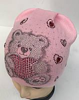 """В'язана шапочка для дівчинки на флісі """"Тедді"""" - Da1752 (фліс)"""