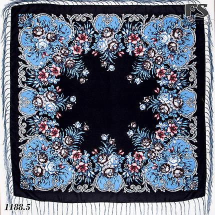 Шерстяной павлопосадский шерстяной платок Василиса, фото 2