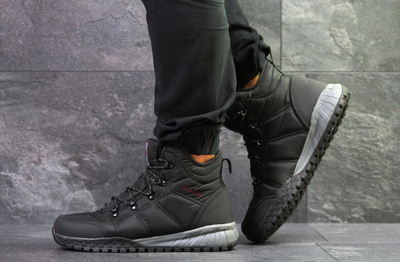 Зимние мужские ботинки Columbia кожаные на меху, молодежные высокие под  джинсы (черные), ТОП-реплика 5e1c88da89a