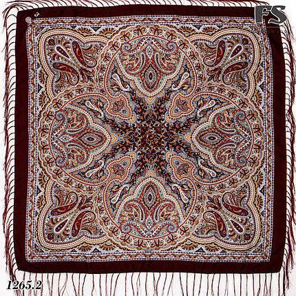 Бордовый павлопосадский шерстяной платок Таира, фото 2
