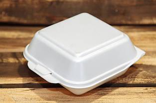 Ланч-бокс HB-6 одноразовый (для сендвича) из вспененного полистирола с крышкой 150x150x70 мм.