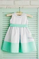 Классическое детское платье с завышенной талией, цвет белый с ментоловым, код: 7012, размеры: от 80 до 116