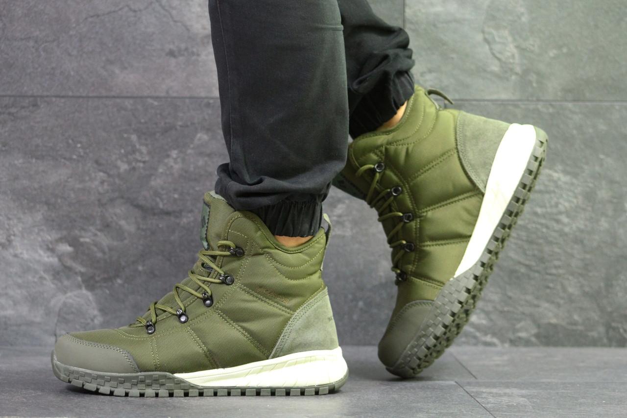 Зимние мужские ботинки Columbia кожаные на меху, повседневные высокие под  джинсы (зеленые), ТОП-реплика 72310c590de