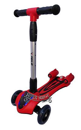 Детский Самокат Скутер SMART FL - Музыка Дым Подсветка - Красный, фото 2