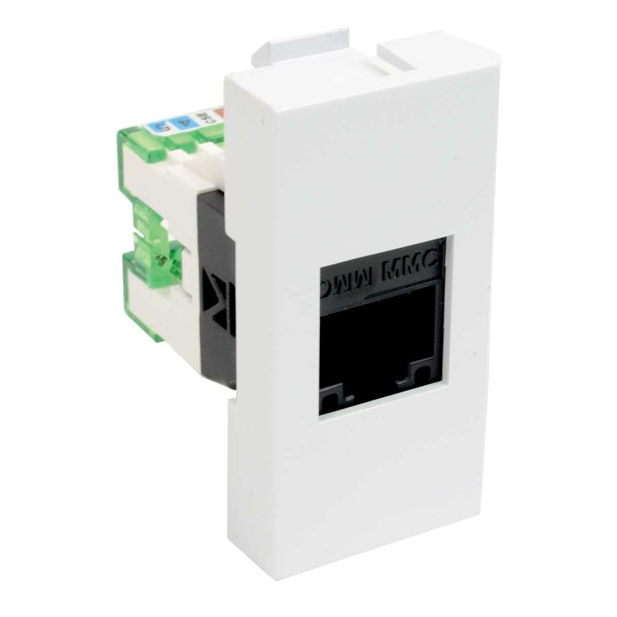 Модульний адаптер з комп'ютерним роз'ємом RJ-45; 45х22,5х36 мм; білий; Серія Quadro ;