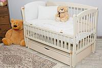 Кроватка Элит № 10 на шарнирах с подшипником + откидная боковина + ящик с крышкой (слоновая кость)